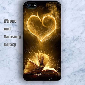 Love in books heart iPhone 5/5S case Ipod Silicone plastic Phone cover Waterproof