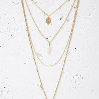 Layered Faux Stone Charm Necklace