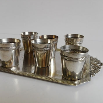 Antique French liquor service in silver plated.Early XX century.