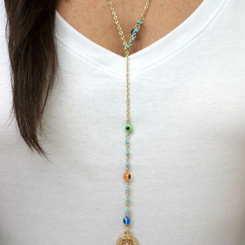 Long Gold Multi-color Rondelle Evil Eye Bead Hamsa Pendant Lariat Layering Necklace - Lariat Gold Disc Hamsa Layering Necklace 3 in 1