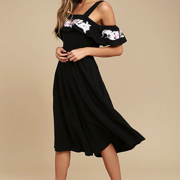 I. Madeline Thinking of You Black Embroidered Midi Jumpsuit