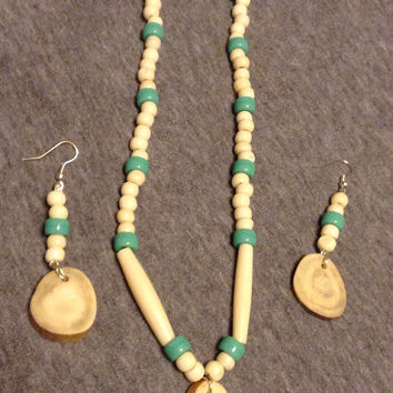 Necklace and earrings bone and glass beads deer antler