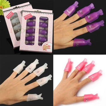 10pcs/set Wearable Acrylic UV Gel Polish Tool Nail Art Soak Off Clip Cap Remover Wrap Tools = 1651190660