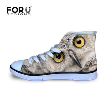 FORUDESIGNS Women Casual Canvas Shoes 3D Animals Owl Lerpard Panda Girl Students School Leisure Flats Breathable High-Top Shoes