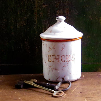 Vintage French Enamel Canister, Epices, Spice Jar, Apricot Color, Enamelware Tin, Graniteware, Storage Container, Rustic Cottage Decor