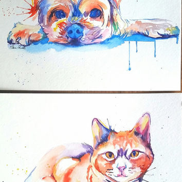 LARGE Colorful Custom Pet Portrait watercolor painting - custom rainbow dog or cat illustration