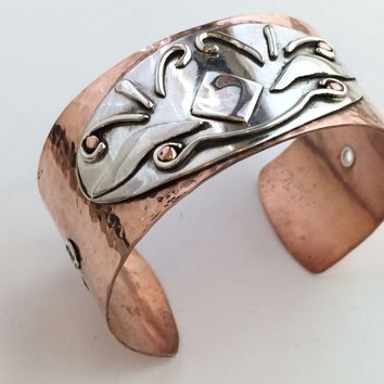 Hammered Copper with Sterling Silver Design Riveted to Cuff