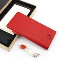 iVAPO 8000mAh Single USB Portable Charger Backup, Power Bank With Quick Charge, Genuine Leather Body Battery Pack, Power For Iphone, Samsung, THC, Sony, LG, Ipad, Tablet, Most Smart Phone (MM498) (Red)