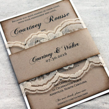 Best burlap and lace wedding invitations products on wanelo ivory lace rustic wedding invitations aged wedding invitations wedding invitation set burlap and solutioingenieria Gallery