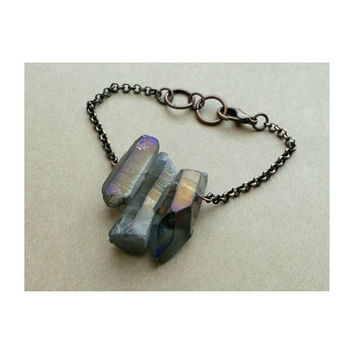 Titanium Aura Crystal Quartz Point Bracelet - Raw Crystal Points- Boho- Free Spirit