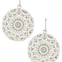 Crystal Aligned Floral Disk Earrings