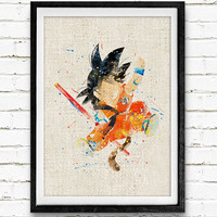 Dragon Ball Goku Watercolor Print, Childhood Baby Nursery Room Art, Minimalist Home Decor Not Framed, Buy 2 Get 1 Free!