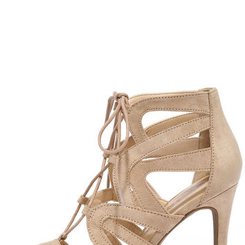 Holds True Natural Suede Lace-Up Heels