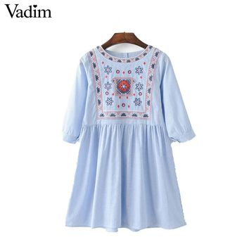 women vintage geometric embroidery striped pleated dress retro totem pattern half sleeve ladies summer casual dresses QZ2950