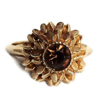 Avon Star Burst Ring, With Chocolate Diamond Rhinestone In Gold Tone