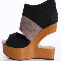Black & Grey Faux Suede Cutout Wedge with Wooden Heel