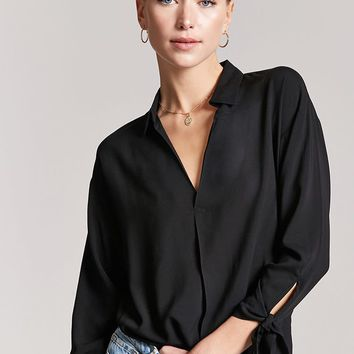 Woven V-Neck Collar Top