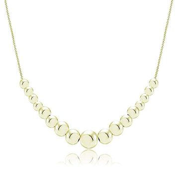 18K Gold over 925 Sterling Silver Graduated Polished Bead Necklace