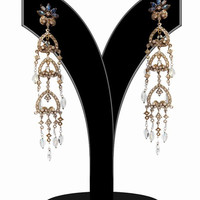 Hanging Victorian Fashion Earrings for Women in White Stones