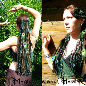 PEACOCK feather elf fairy pixie YARN hair FALLS Fantasy Larp wig Tribal Fusion Belly Dance magician wicca witch dreadlocks costume accessory