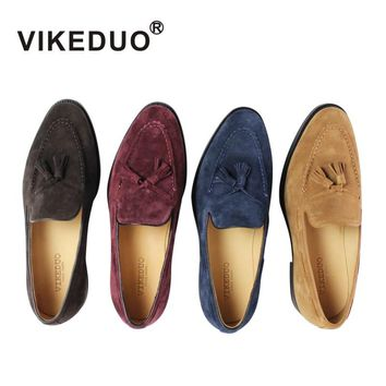 VIKEDUO Luxury Brand 100% Genuine Suede Leather Top Insole Outsole Custom Handmade Purple Suede Penny Loafer Men's Moccasin Shoe