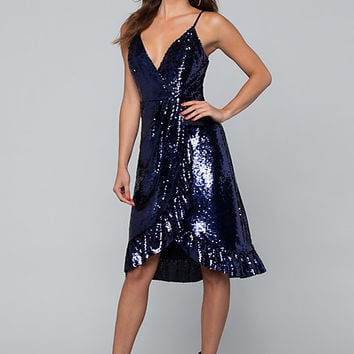 SEQUIN RUFFLE WRAP DRESS