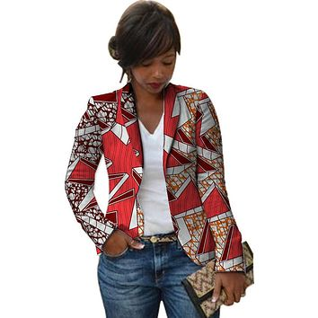 Women Retro African Blazer Female Fashion Pattern Printed Suit Outwear Outfits Custom Lady Dashiki Clothes