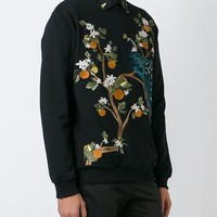 Indie Designs Dolce & gabbana Inspired Embroidered Peacock Sweatshirt