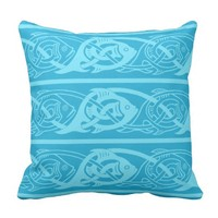 Celtic Knotwork Fish in Blue Throw Pillows
