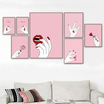 Cartoon Pink Rose Girl Lips Nordic Posters And Prints Wall Art Canvas Painting Canvas Prints Wall Pictures For Living Room Decor