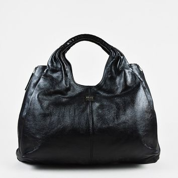 "Givenchy Black Leather Croc Embossed Handle ""Large Elsa"" Hobo Bag"