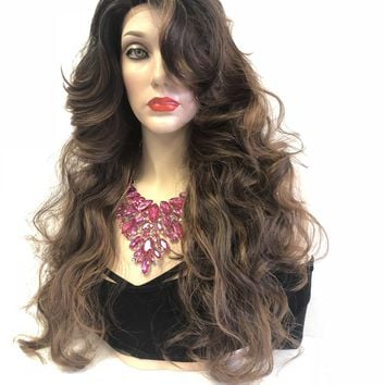 Brown Ombre Balayage' Swiss Lace Front Wig | Volume Curl Layered Hair + Bangs | Tina
