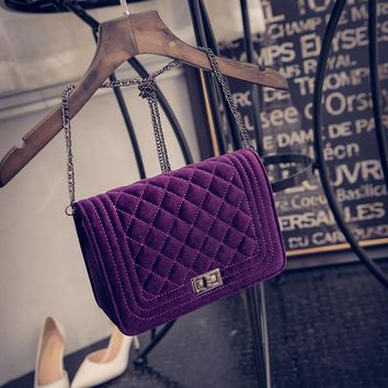 2017 Plaid Chain Fashion snakeskin Velvet women leather handbags day clutch women's bag  small shoulder bag women messenger bags