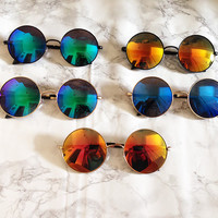 Oversized Round Flat Lens Mirror Sunglasses Vintage Hippie Circle Glasses - Janis