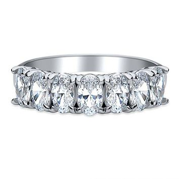 1.89TCW Oval Cut Russian Lab Diamond Wedding Band Half Eternity Ring