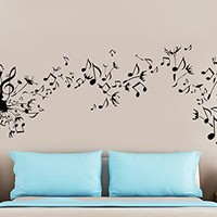 Dandelion Wall Decal Flower Music Musical Notes Nature Plants Home Interior Design Art Mural Vinyl Sticker Bedroom Living Room Decor NS971