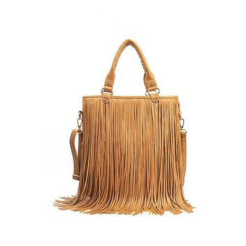 Women Fashion Handbags New Vintage Messenger Bags Large capacity Shoulder Bag Tassel fringe Popular Cross Body Bag pu Leather