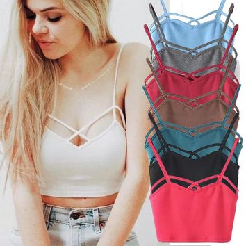 womens tops new brandy Melville fitness sexy Suspenders Strapless stripe white crop top cropped halter bra top K