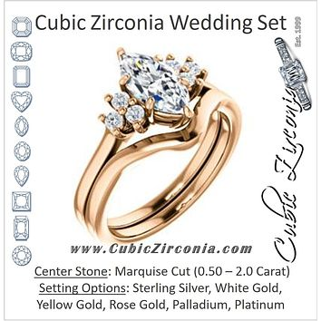 CZ Wedding Set, featuring The Gwendolyn engagement ring (Customizable Marquise Cut 7-stone Prong-Set Design)