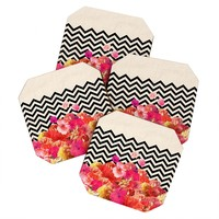 Bianca Green Chevron Flora 2 Coaster Set