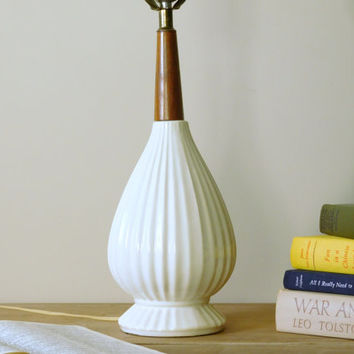 Ceramic and Wood Mid Century Table Lamp