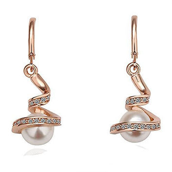 Basket Hill Watches and Gifts 18k Gold Plated, Austrian Crystal Swirl Wrapped Pearl Dangle Earrings