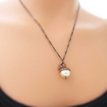 Acorn Necklace, Fall Pendant Necklace, Pearl Acorn, Autumn Jewelry, Acorn Charm Necklace