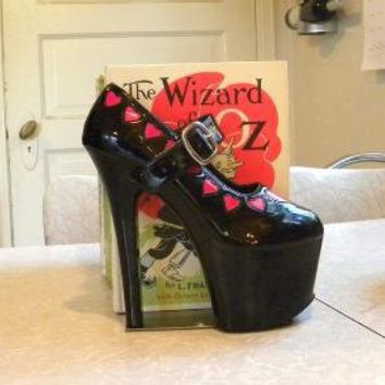 Mary Jane reclaimed stiletto bookends by giddyspinster on Etsy