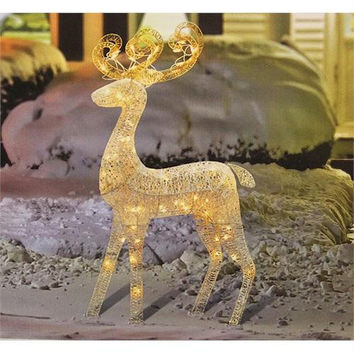 Reindeer Christmas Yard Art - 70 Clear Mini Lights