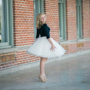 Clarisa - Tulle Skirt, Champagne Tulle Skirt, Ivory Tulle Skirt, 7-Layers Adult Tutu, Knee-length Women's Ballerina Skirt