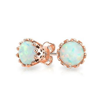 White Opal Crown Setting Solitaire Stud Earrings 14K Gold Plated 6mm