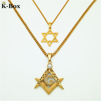 "Couples Necklace Set  Masonic Illuminati Symbol Free Mason and Star Of David Hip Hop Pendant with  24"" & 27.5"" Combo Necklace"