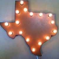COWGIRL STYLE Rustic Metal Texas Lighted STATE of TEXAS Western Hanging Sign Home Decor ARTISAN MADE