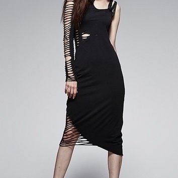 Gothic Asymmetrical Ripped Dress